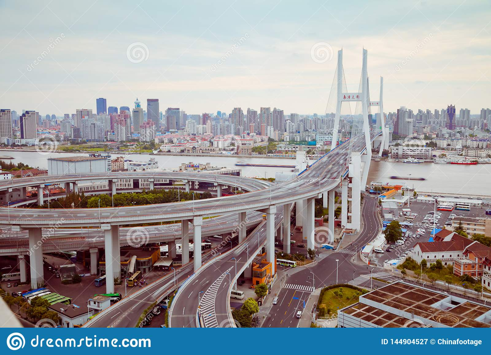 Widok Szanghaj Nanpu most, Szanghaj, Chiny widok Szanghaj Nanpu most, Szanghaj, Chiny