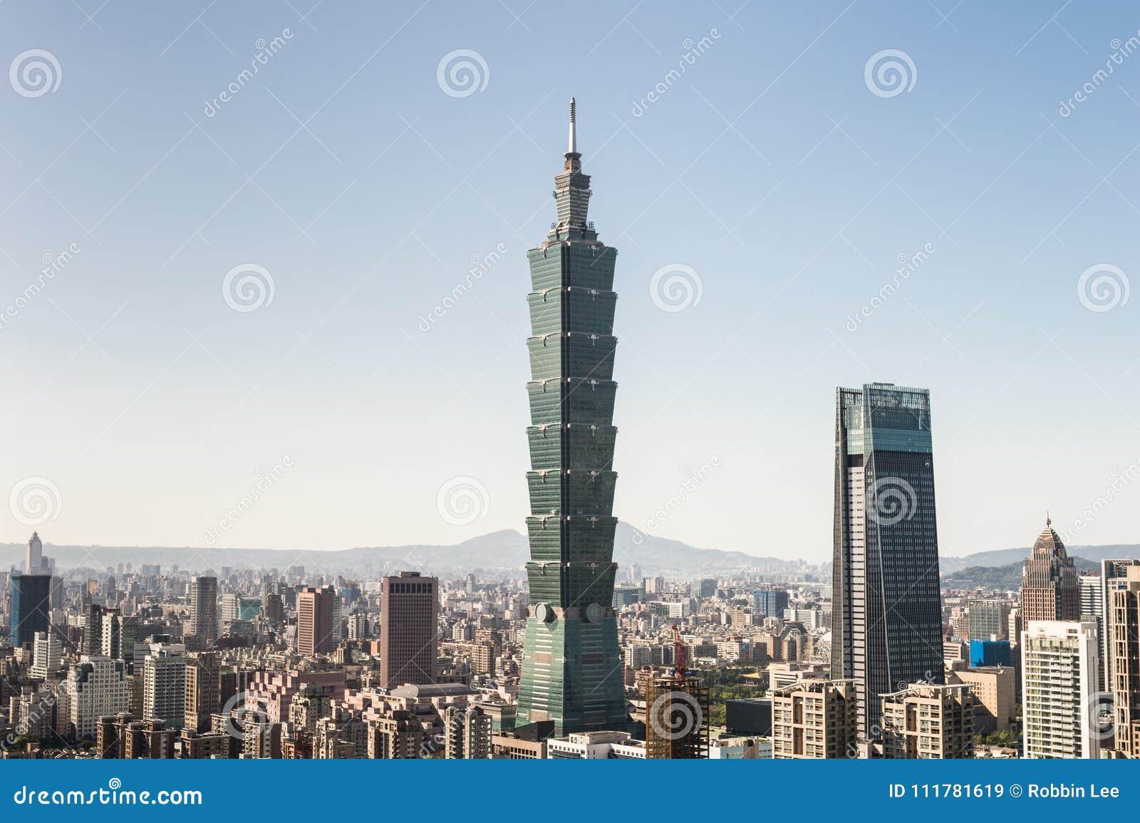 Widok Taipei 101 handlu światowego centrum budynek