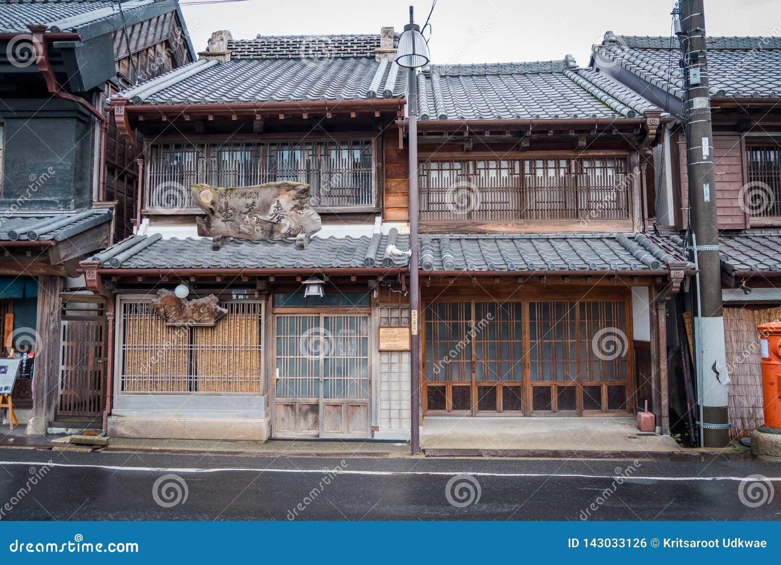 Widok tradycja sklep w Sawara wiosce, Japonia