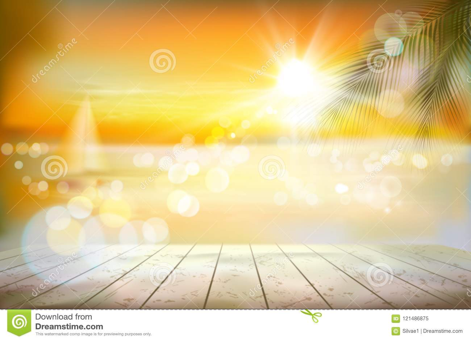 Widok tropikalna plaża z żaglówką Wschód słońca również zwrócić corel ilustracji wektora