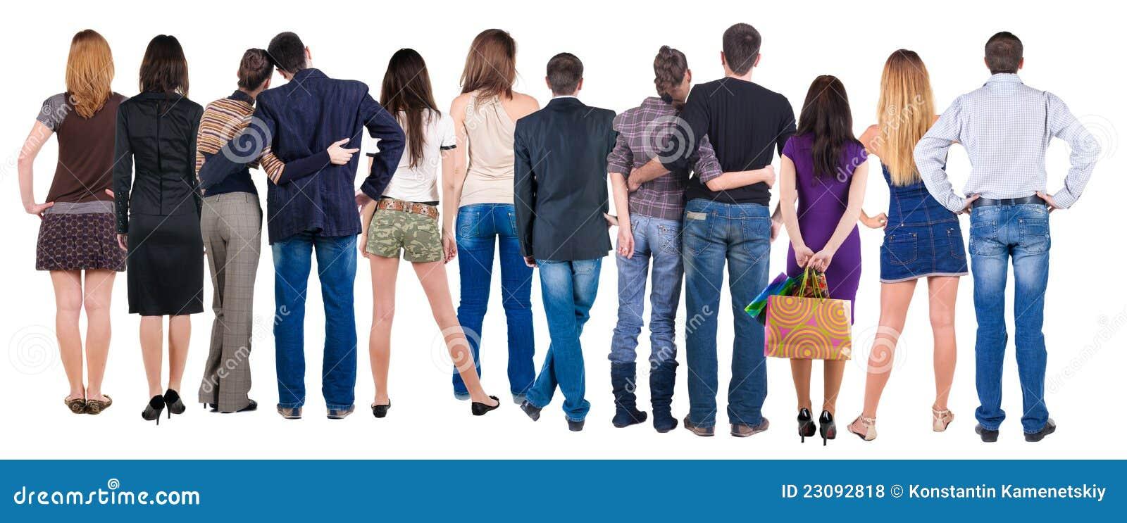 Widok tylna grupa ludzi
