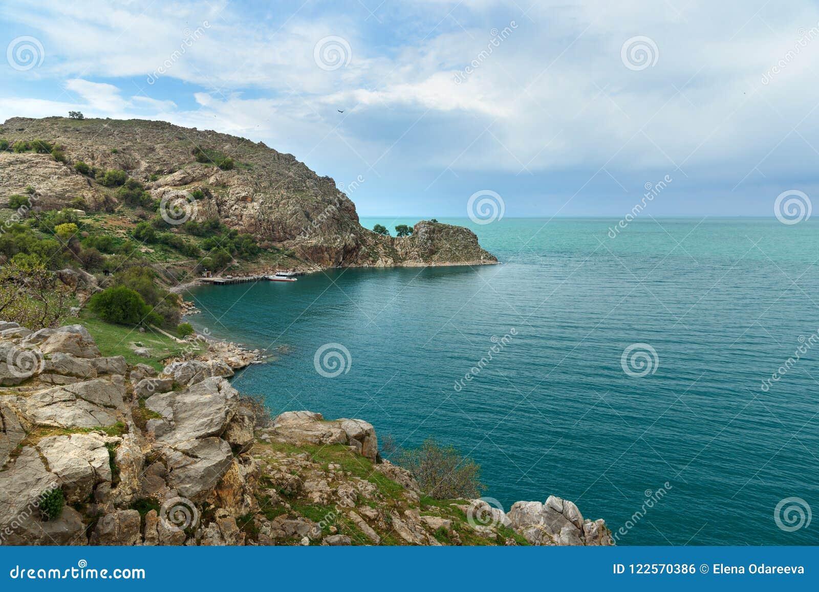 Widok Van Jezioro od Akdamar wyspy w Turcja
