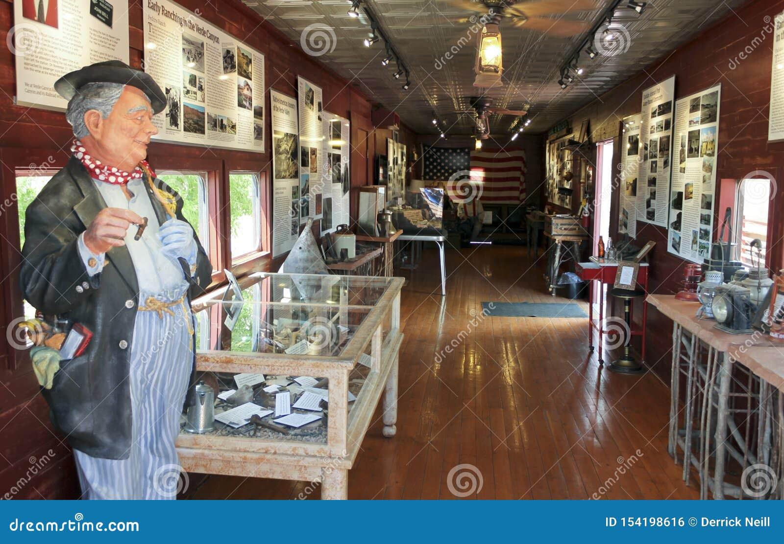 Widok Verde jaru linii kolejowej John Dzwonkowy muzeum, Clarkdale, AZ, usa