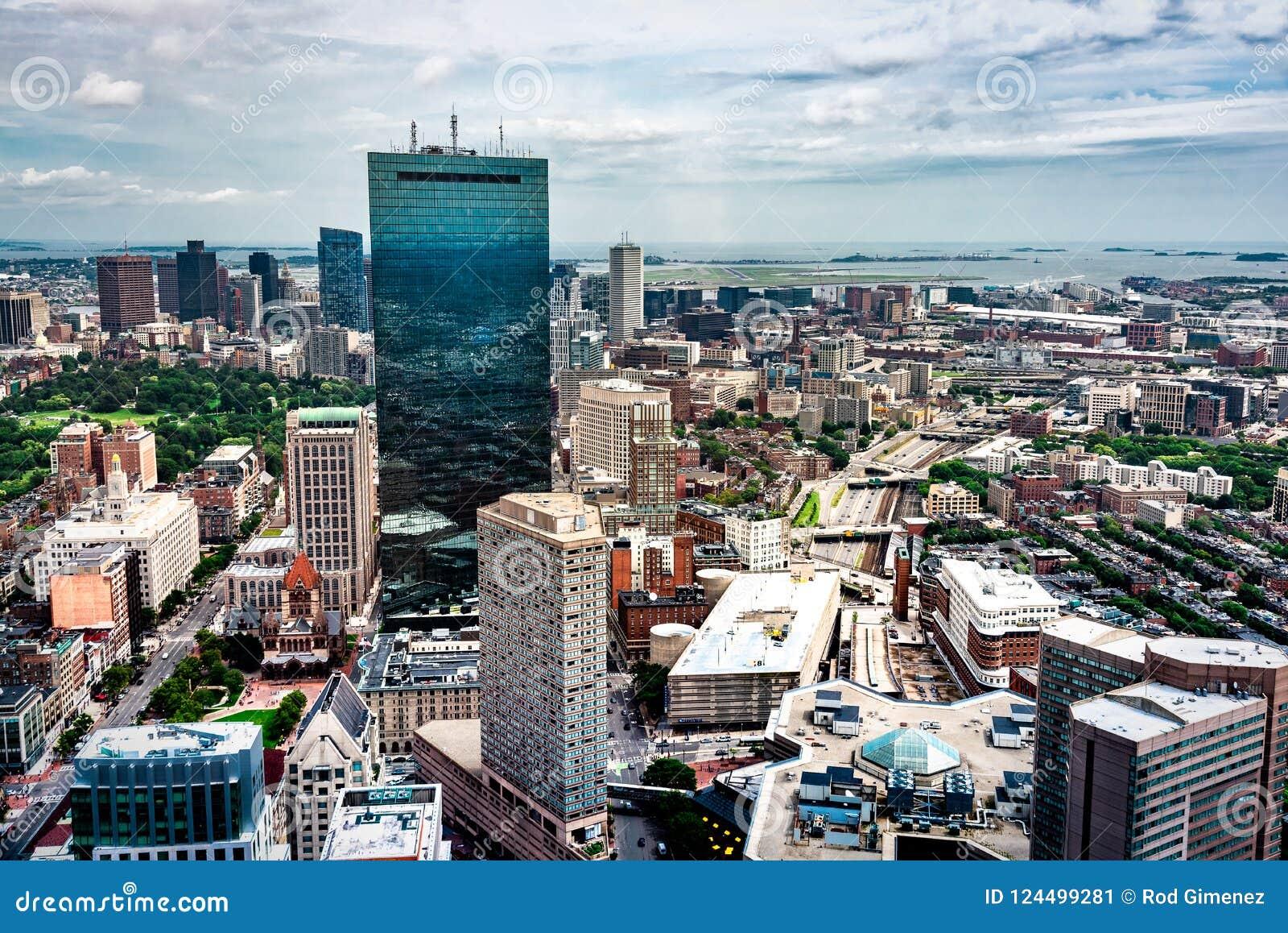 Widok z lotu ptaka Boston linia horyzontu