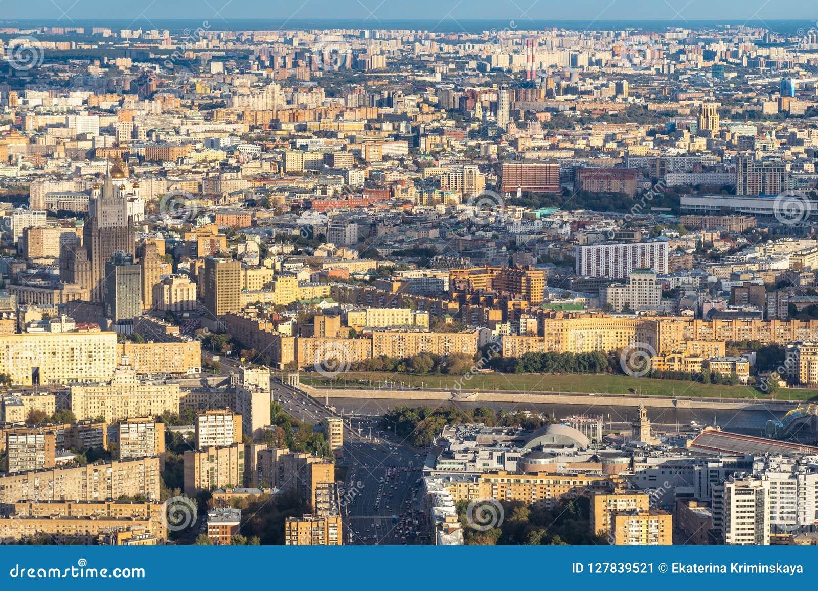 Widok z lotu ptaka centrum i południe Moskwa miasto