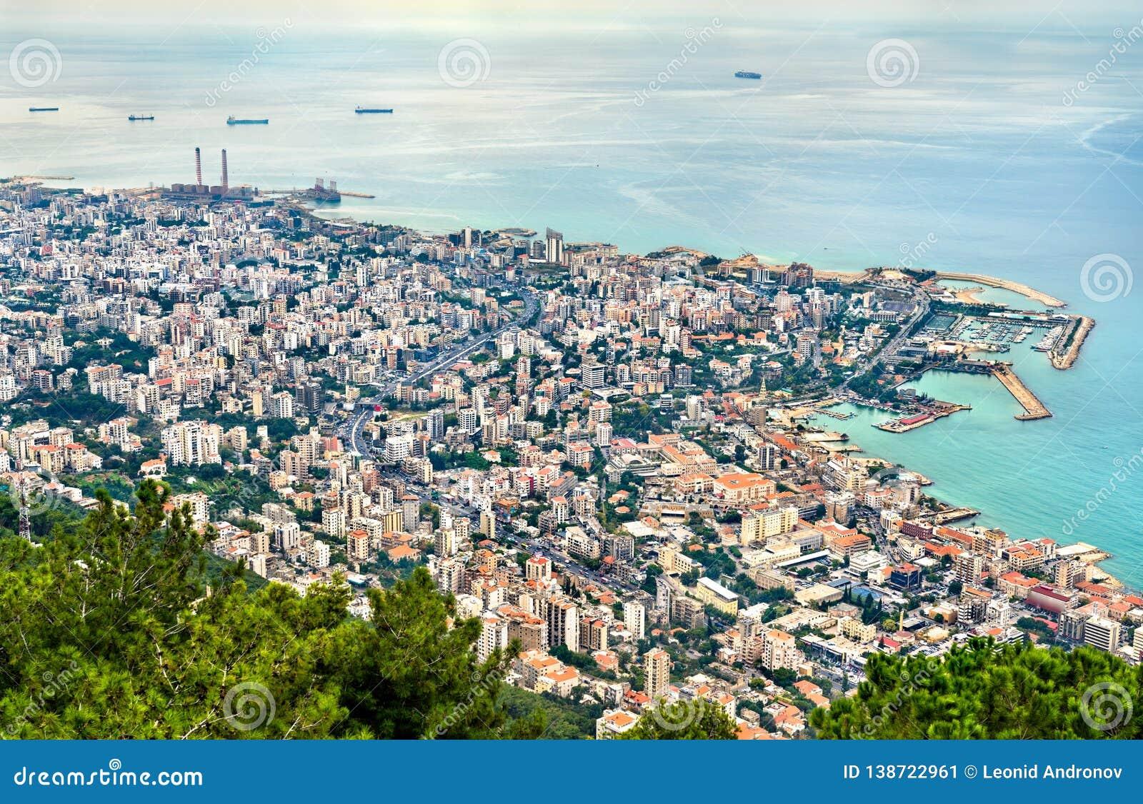 Widok z lotu ptaka Jounieh w Liban