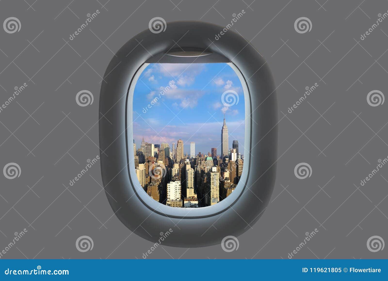 Widok z lotu ptaka Manhattan śródmieście od samolotowego okno miasto nowy Jork USA