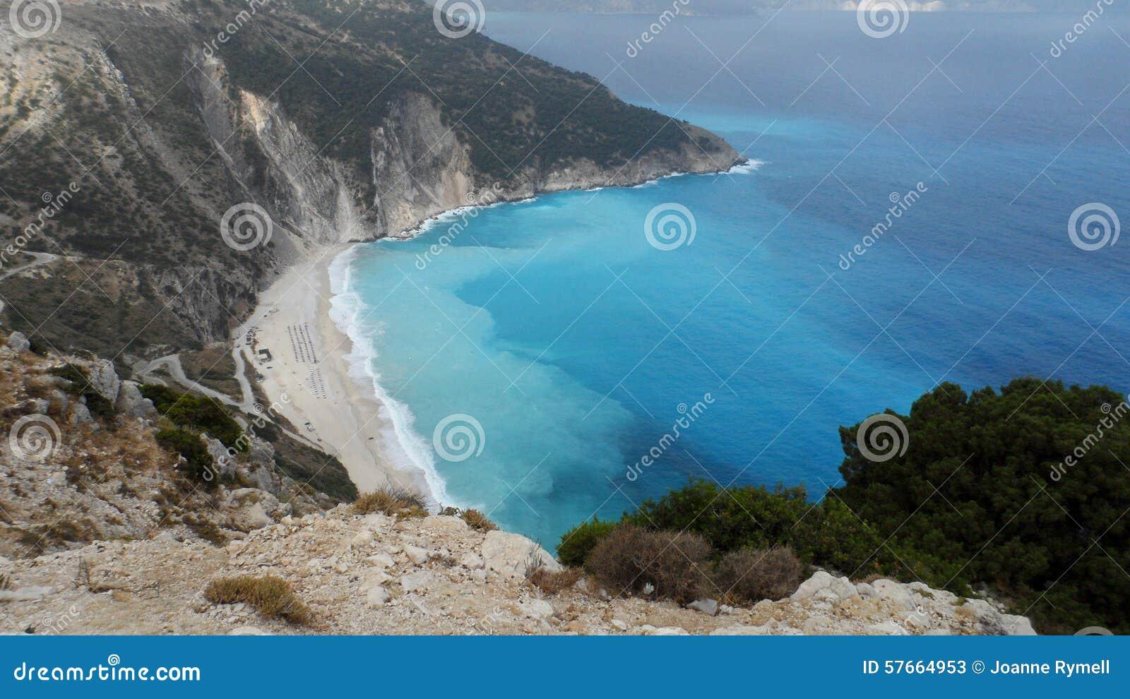 Widok Z Lotu Ptaka Myrtos plaży Kefalonia wyspa Grecja