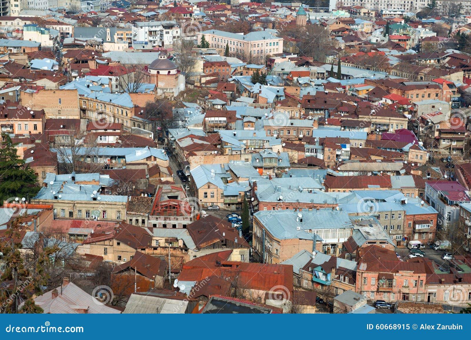 Widok z lotu ptaka na centrum Tbilisi