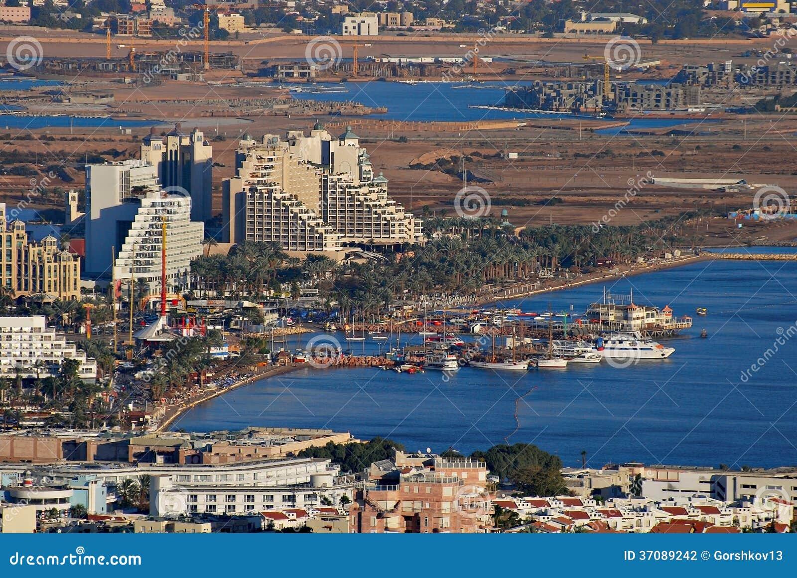 Download Widok Z Lotu Ptaka Na Marina W Eilat I Lagunie W Aqaba Zdjęcie Stock - Obraz złożonej z landmark, żeglarz: 37089242