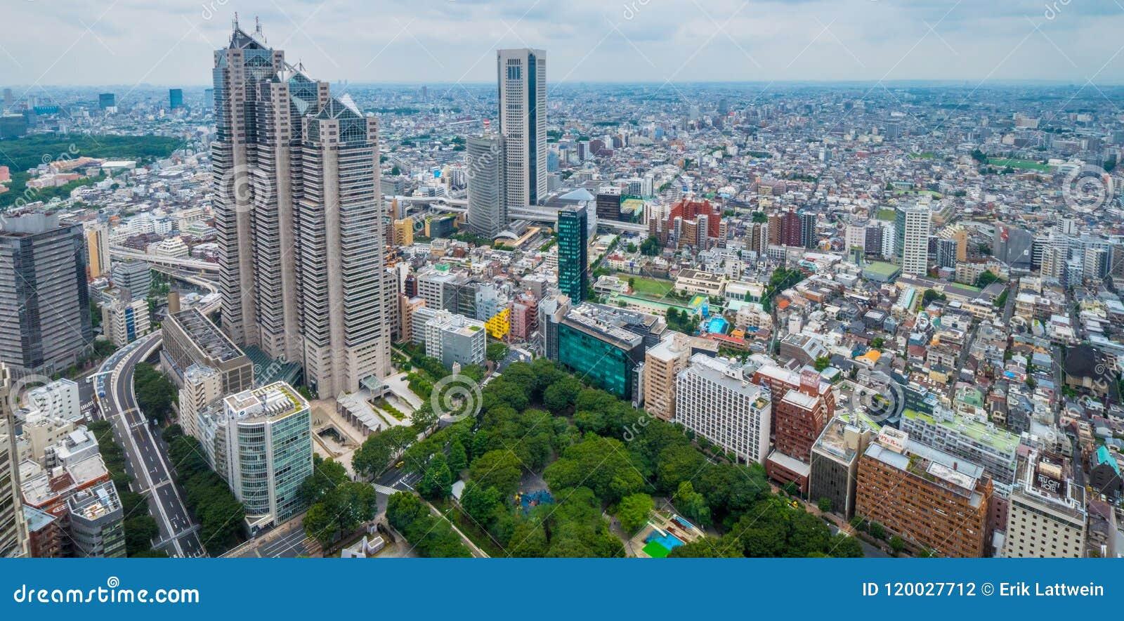 17, 2018 widok z lotu ptaka nad dużym miastem Tokio, TOKIO JAPONIA, CZERWIEC -, -