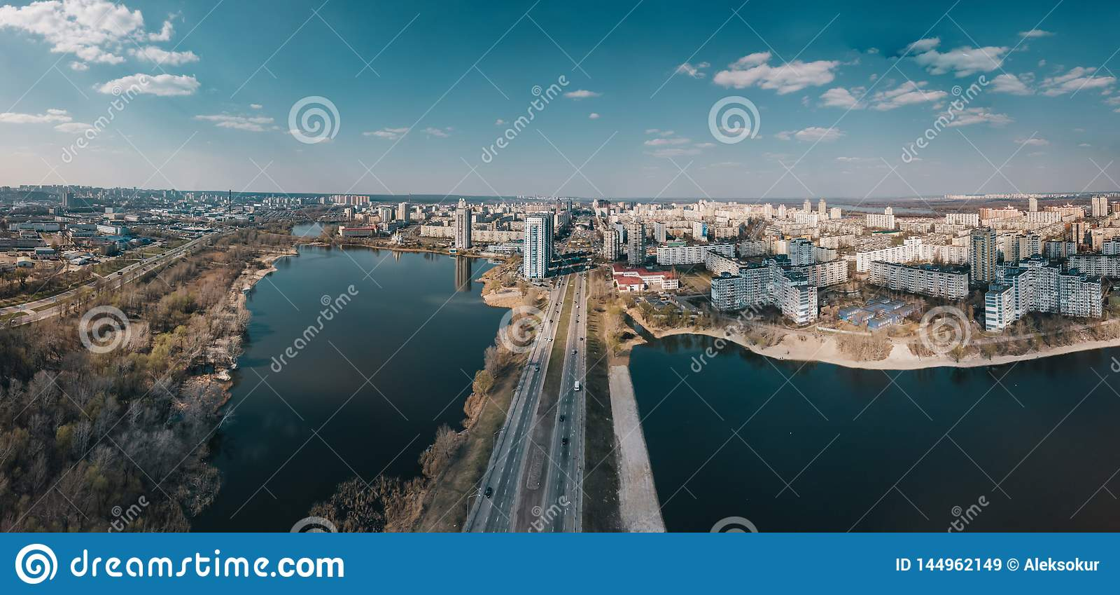 Widok z lotu ptaka Obolon okr?g, Kyiv, Ukraina