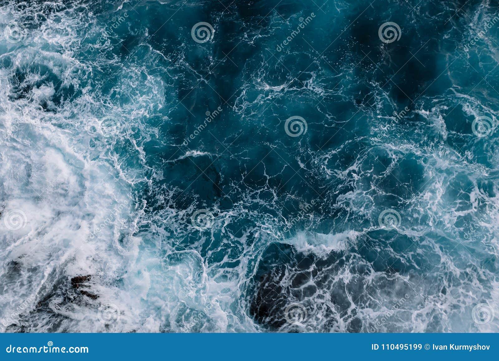 Widok z lotu ptaka ocean fala tła koloru ilustraci wzoru bezszwowa wektoru woda
