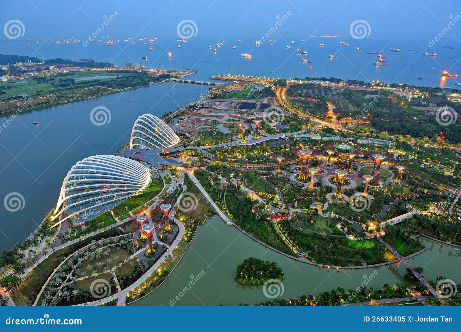 Widok z lotu ptaka Ogródy Podpalany Singapur