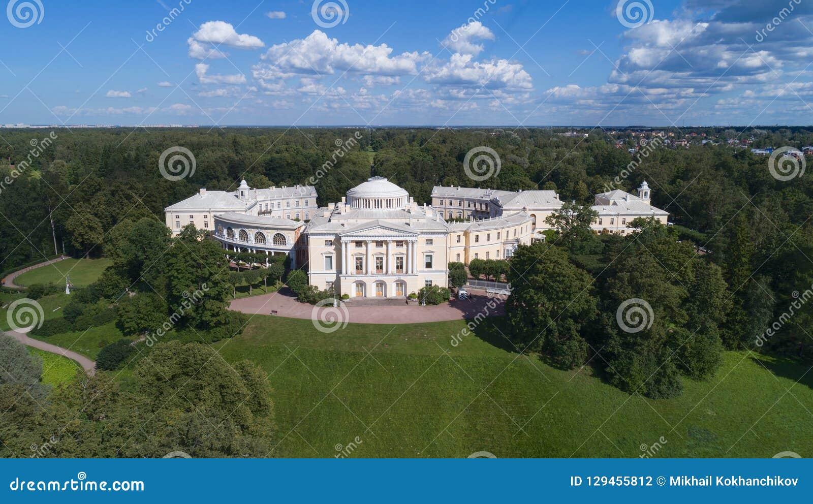 Widok z lotu ptaka pałac w Pavlovsky parku