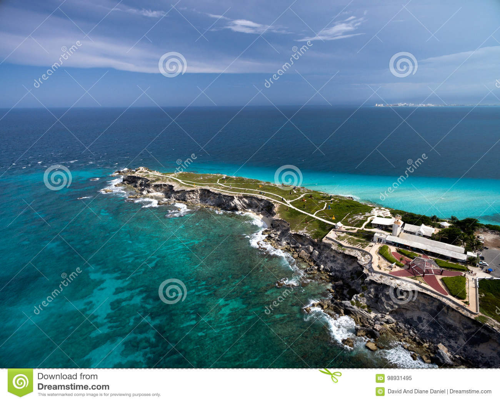 Widok z lotu ptaka Punta Sura, Isla Mujeres -