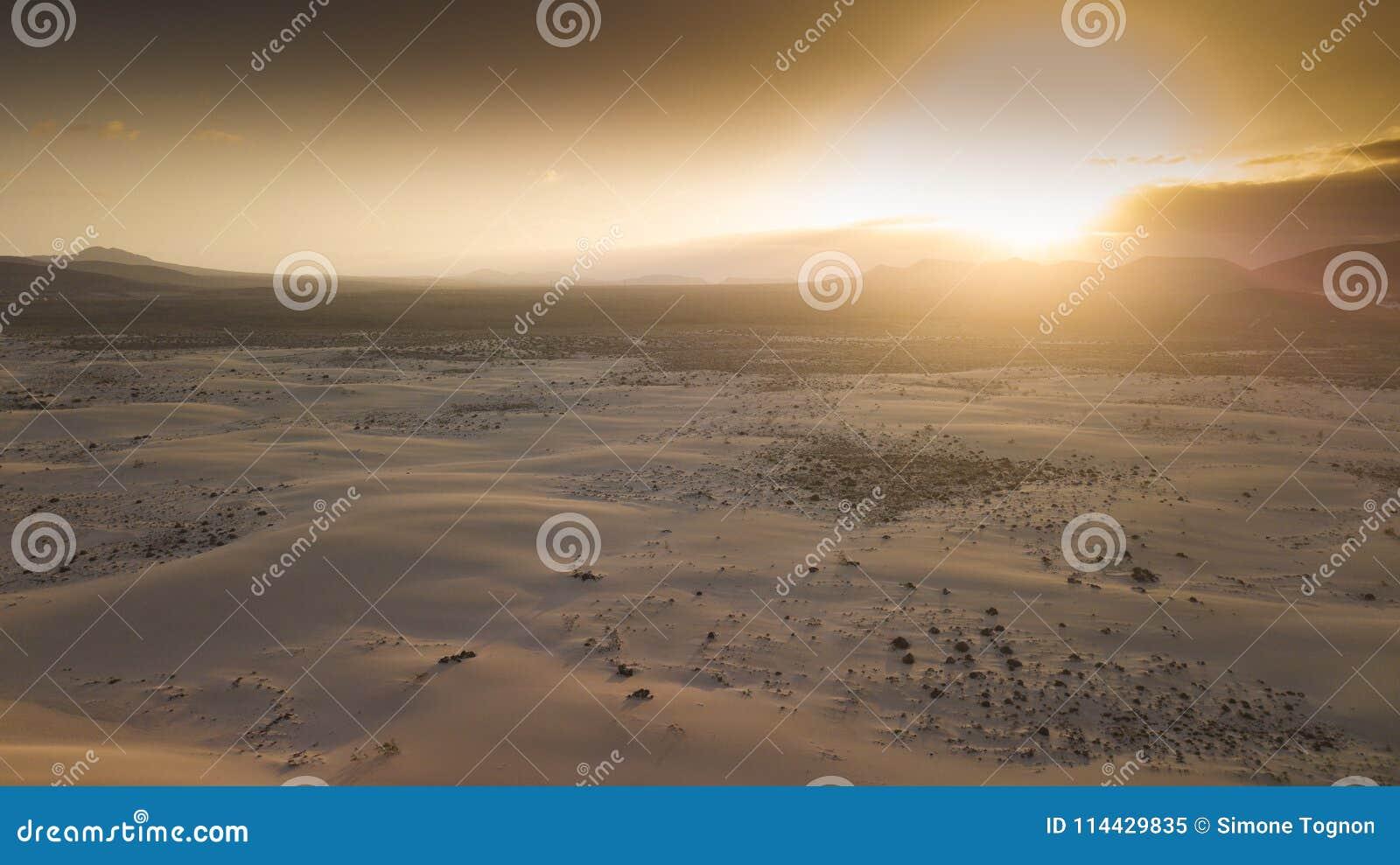 Widok z lotu ptaka pustynia z diunami
