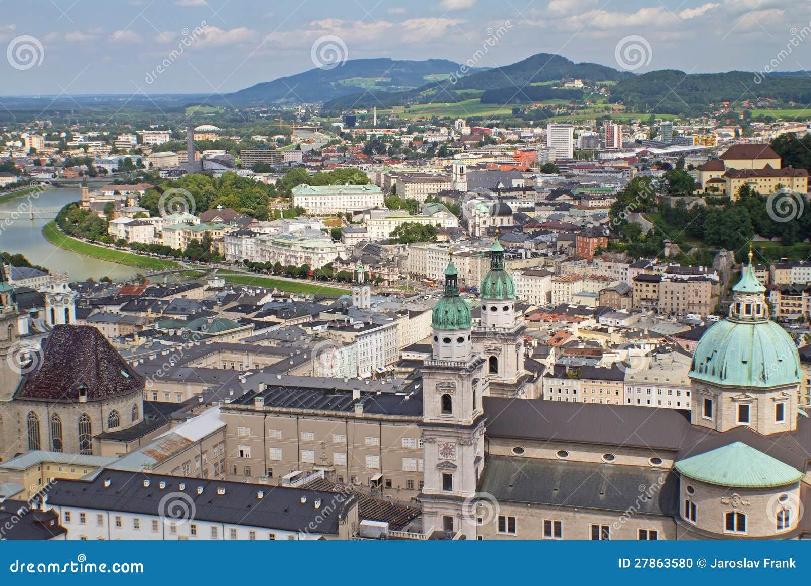 Widok z lotu ptaka Salzburg (Austria)