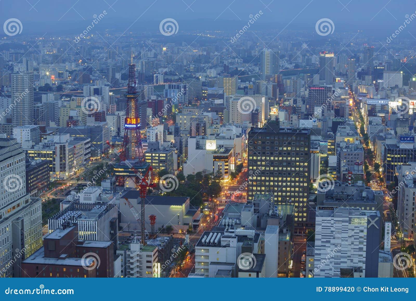 Widok z lotu ptaka Sapporo miasta śródmieście
