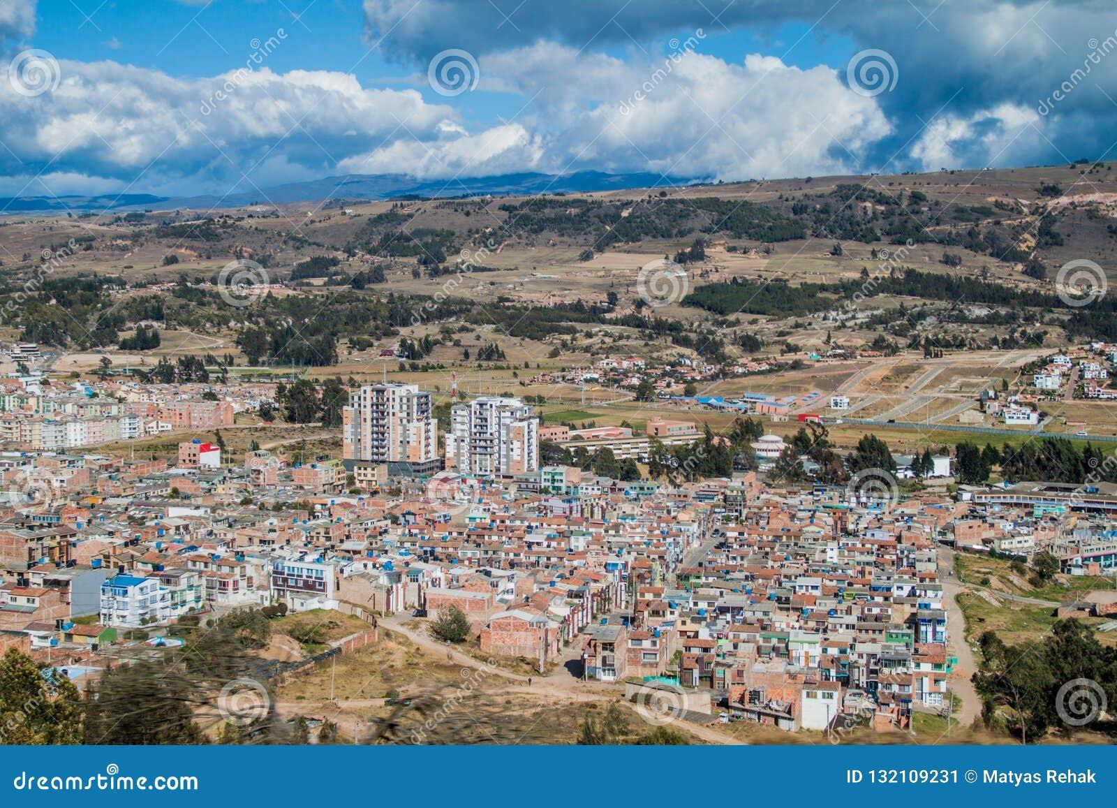Widok z lotu ptaka Tunja miasto
