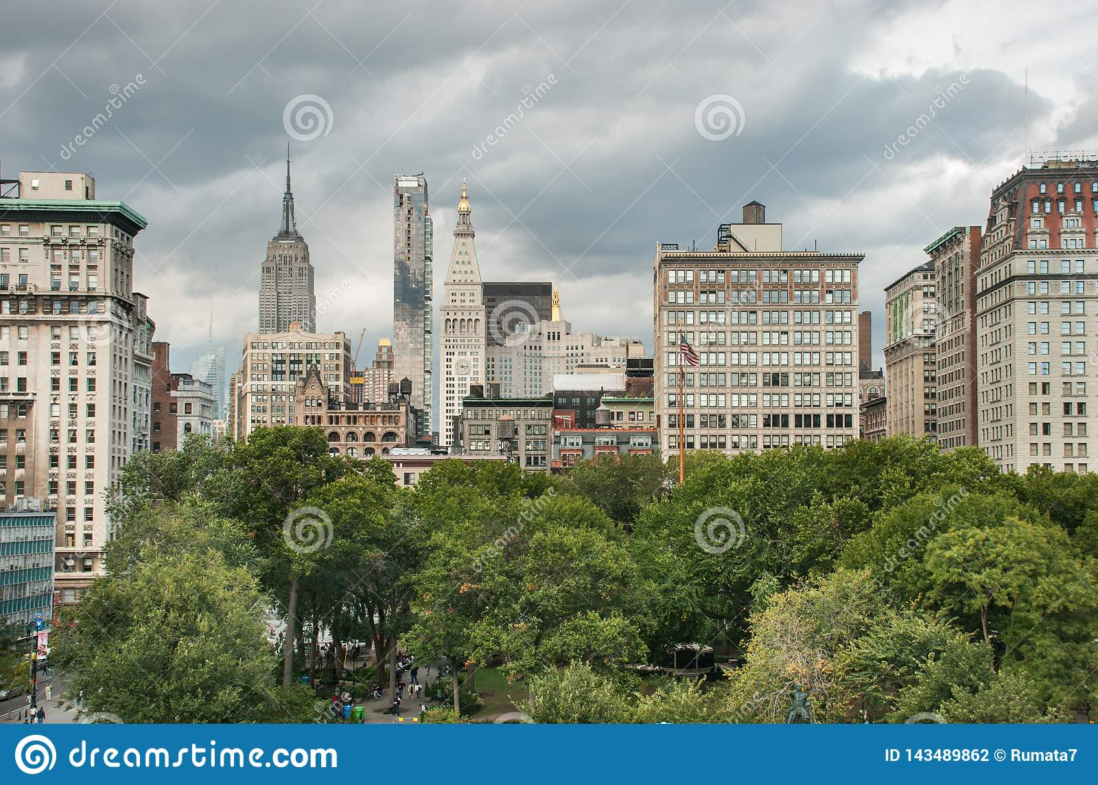 Widok z lotu ptaka Union Square przy Miasto Nowy Jork USA