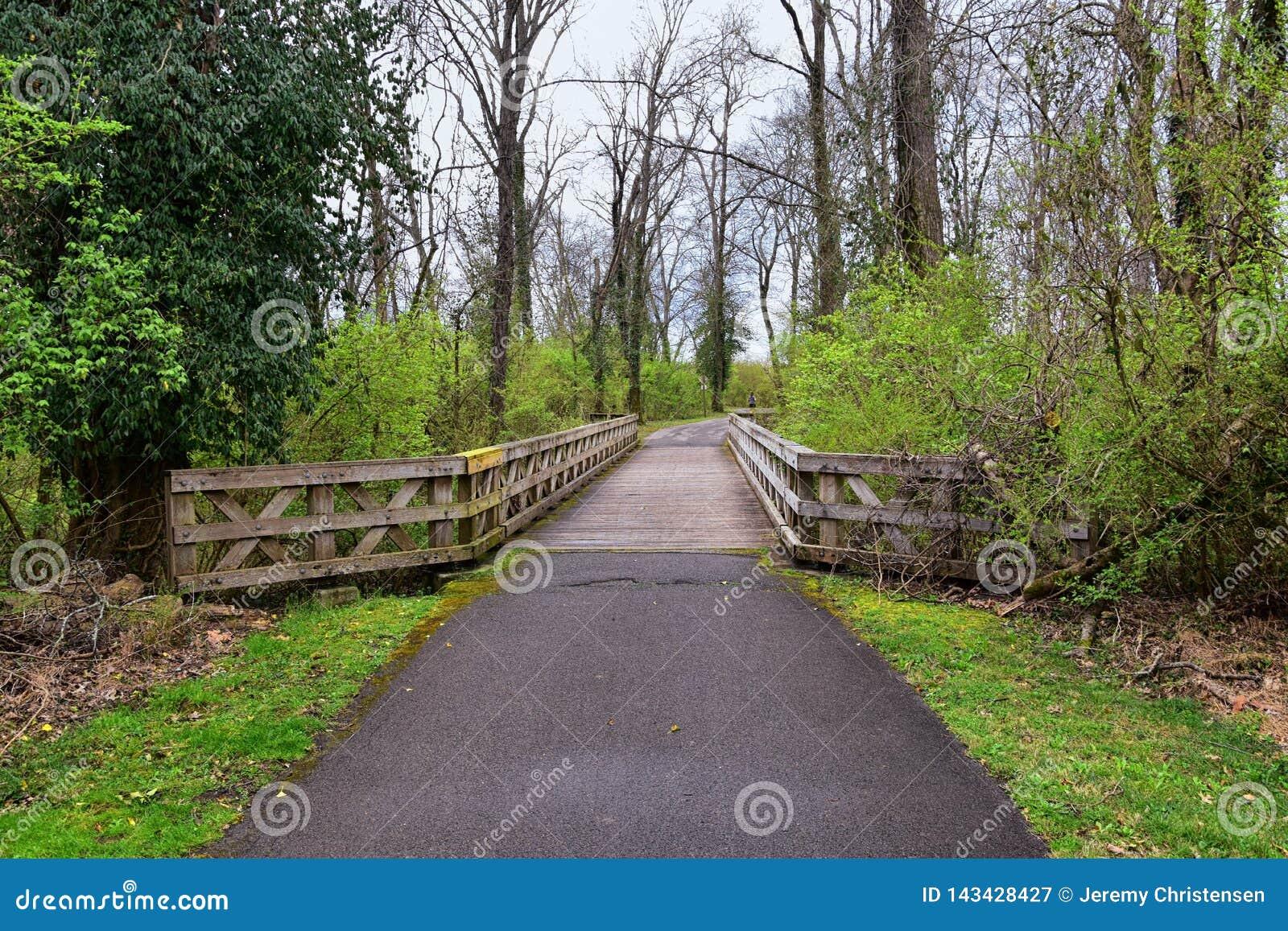 Widoki mosty i droga przemian wzd?u? Shelby Zg??biaj? Greenway i Naturalnego terenu Cumberland Rzeczna pierzeja wlec mocno, botto