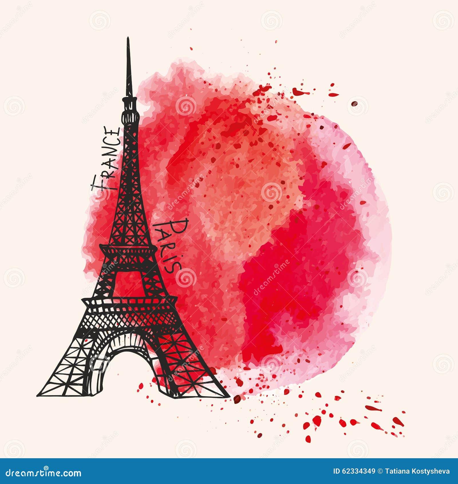 Wieża Eifla, akwareli czerwony pluśnięcie Paryż karta