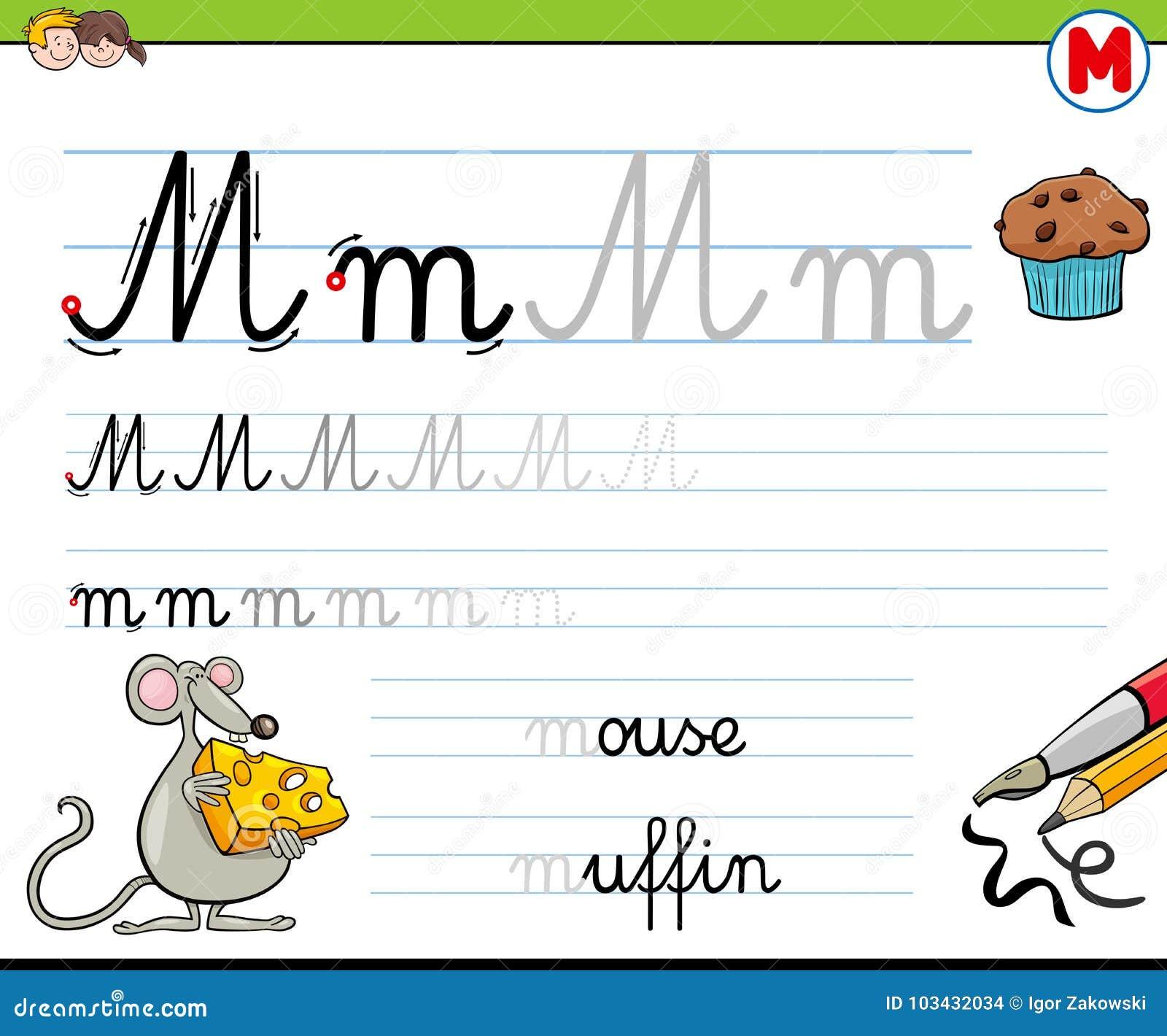 Wie Man Arbeitsblatt Des Buchstaben M Für Kinder Schreibt Vektor ...