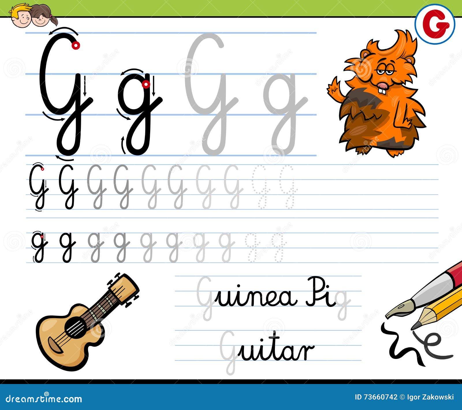 Wie man Brief g schreibt vektor abbildung. Illustration von zicklein ...