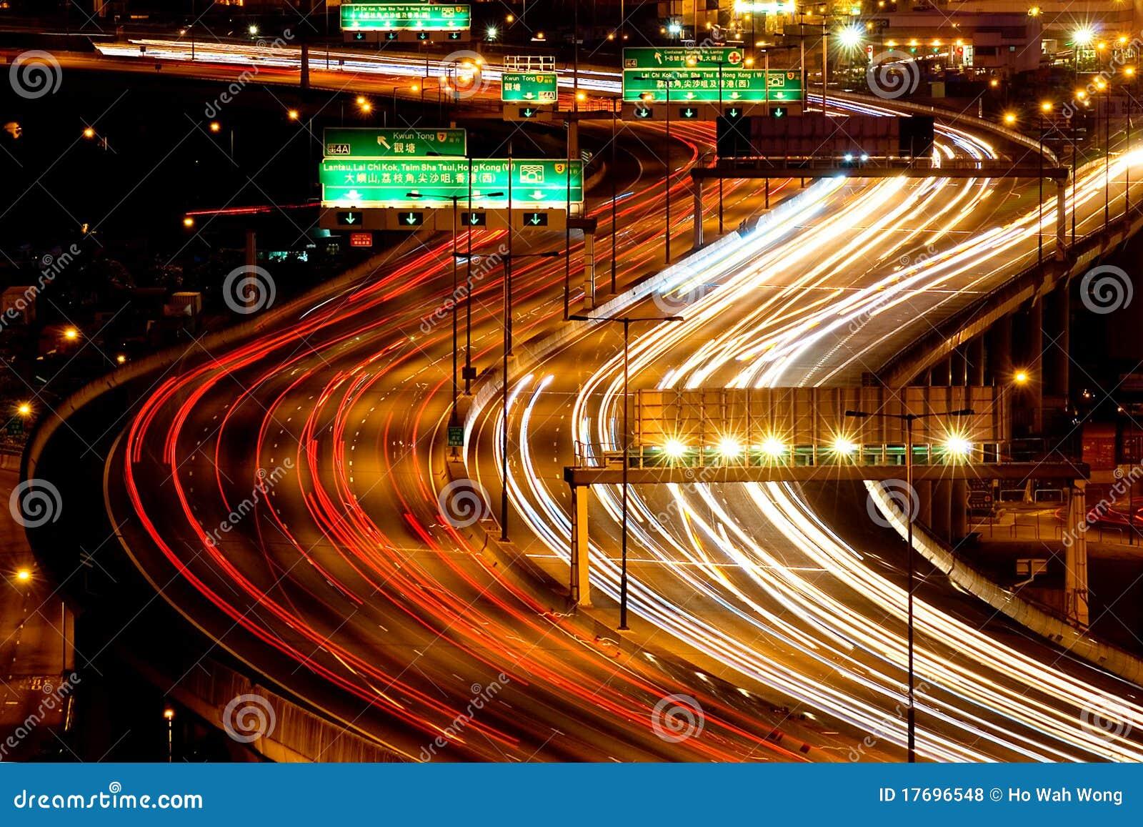 Wieczór autostrady ruch drogowy