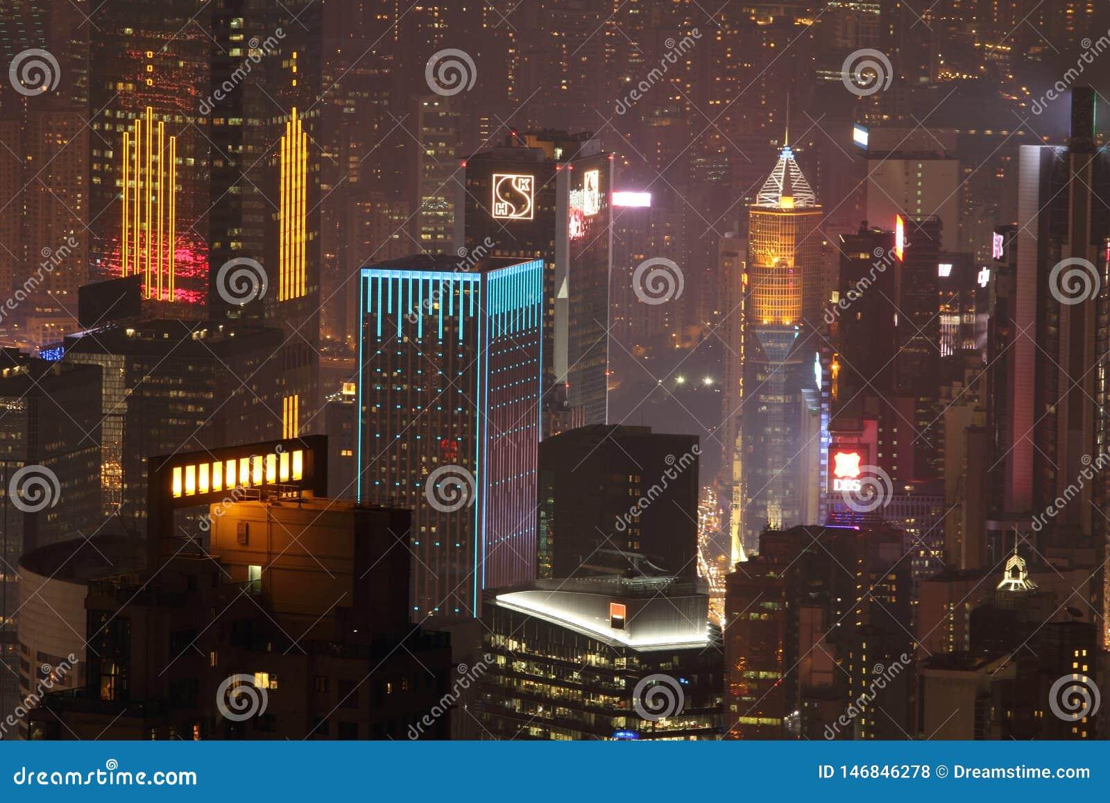 Wieczór Hong Kong od obserwacja pokładu