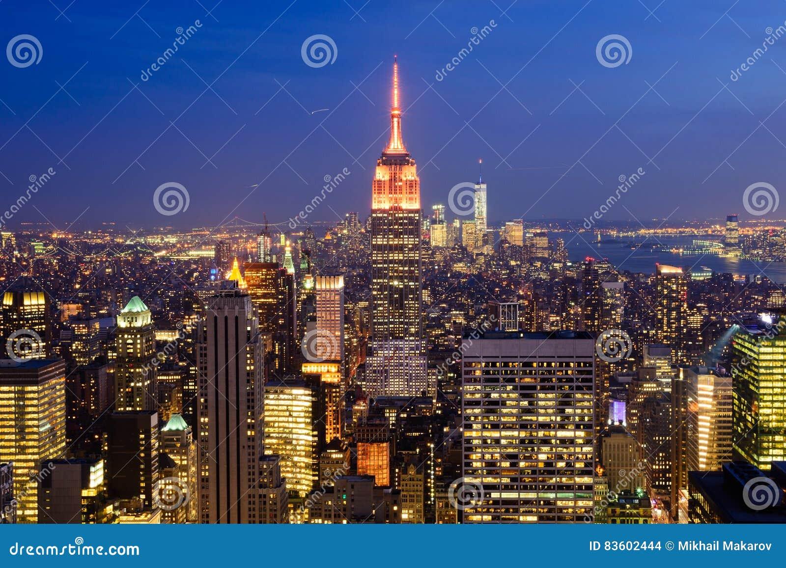 Wieczór widok Miasto Nowy Jork, usa
