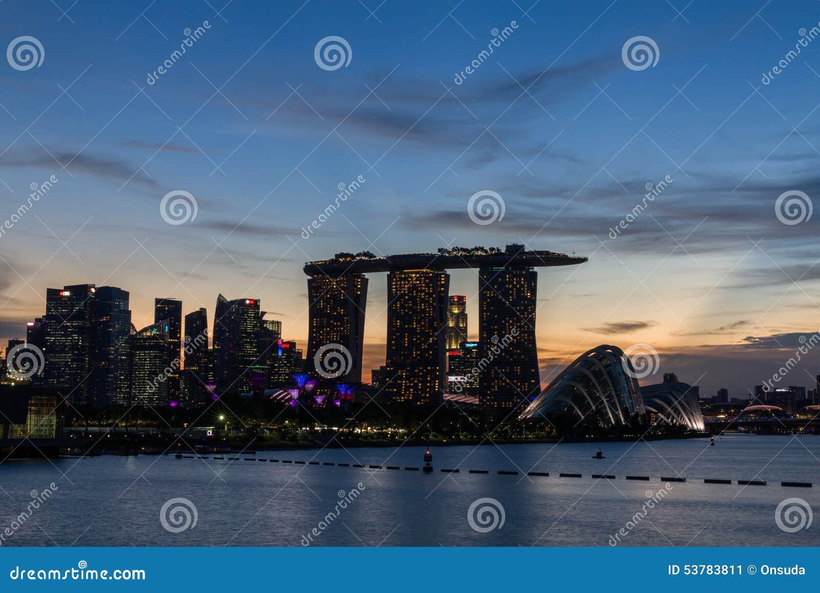 Wieczór widok Singapur