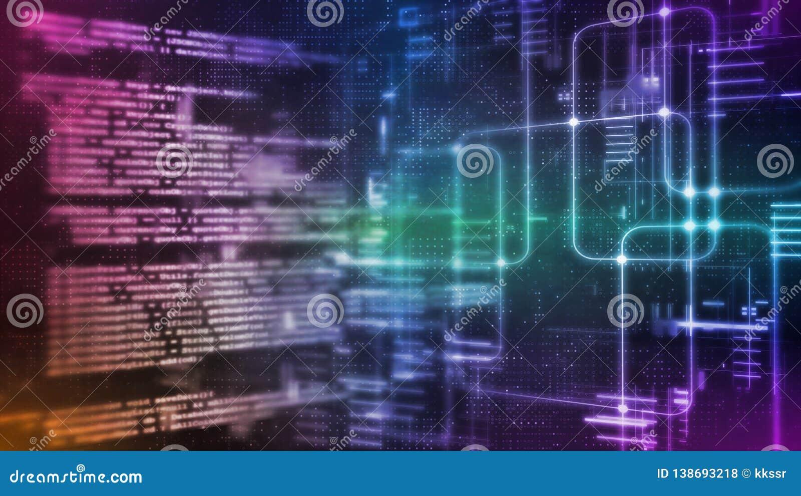 Wiedergabe 3D abstrakter Technologie Digital Binäres Kodierungsstückchen Computer-Software Skriptes auf Datenwissenschafts-System