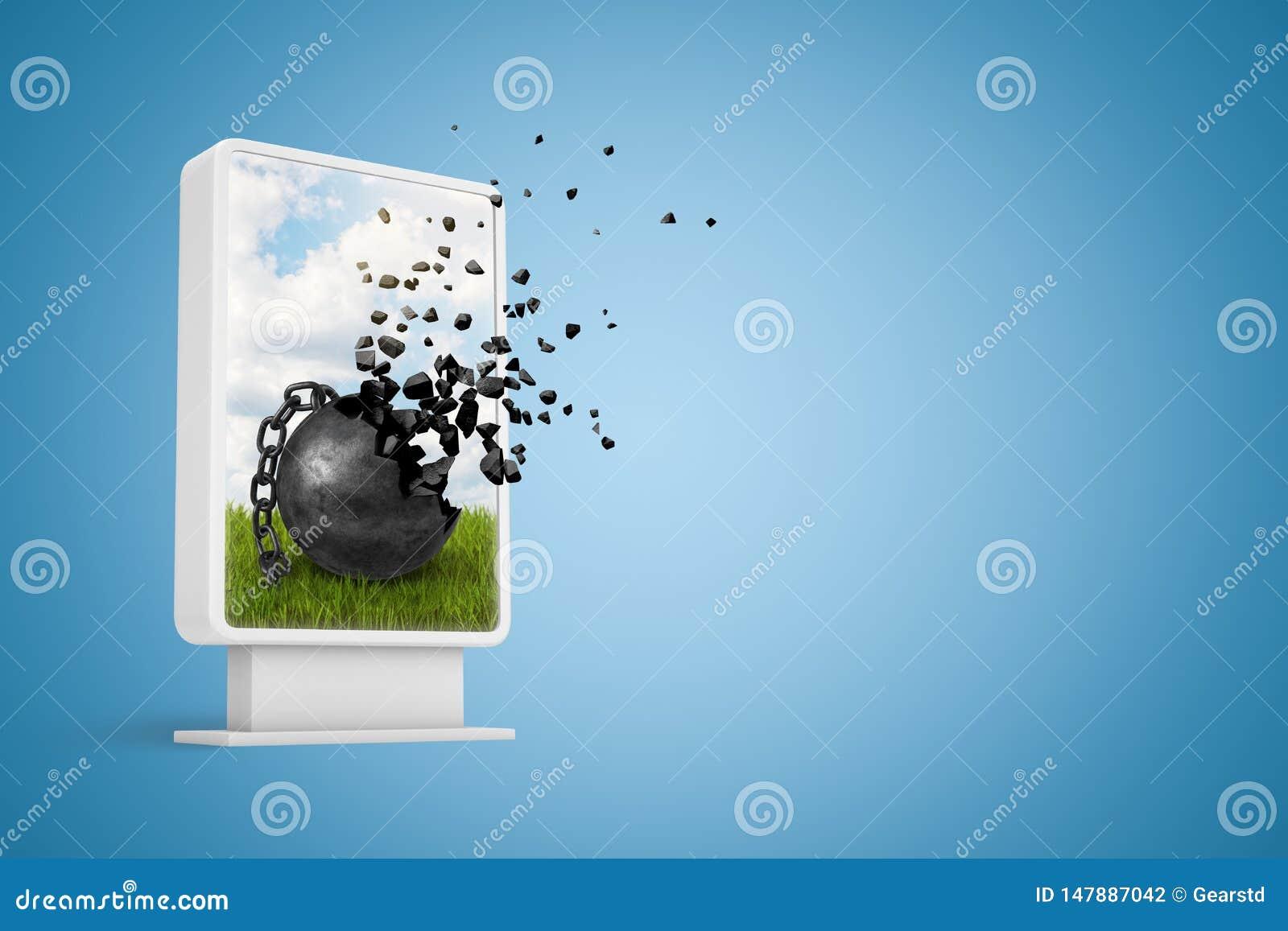 Wiedergabe 3d der vertikalen Anschlagtafel mit dem schwarzes Metall angeketteten Ball, der in Stücke auf blauem Hintergrund zerbr
