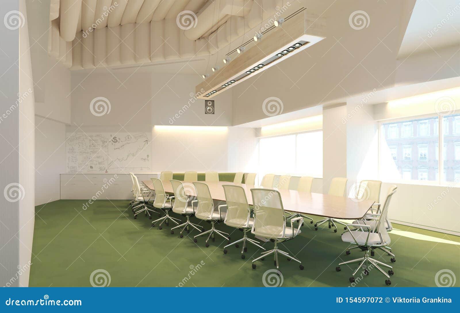 Wiedergabe 3d des Konferenzsaales im Geschäftszentruminnenraum