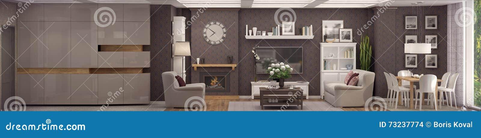 Wiedergabe 3D des Wohnzimmers einer klassischen Wohnung