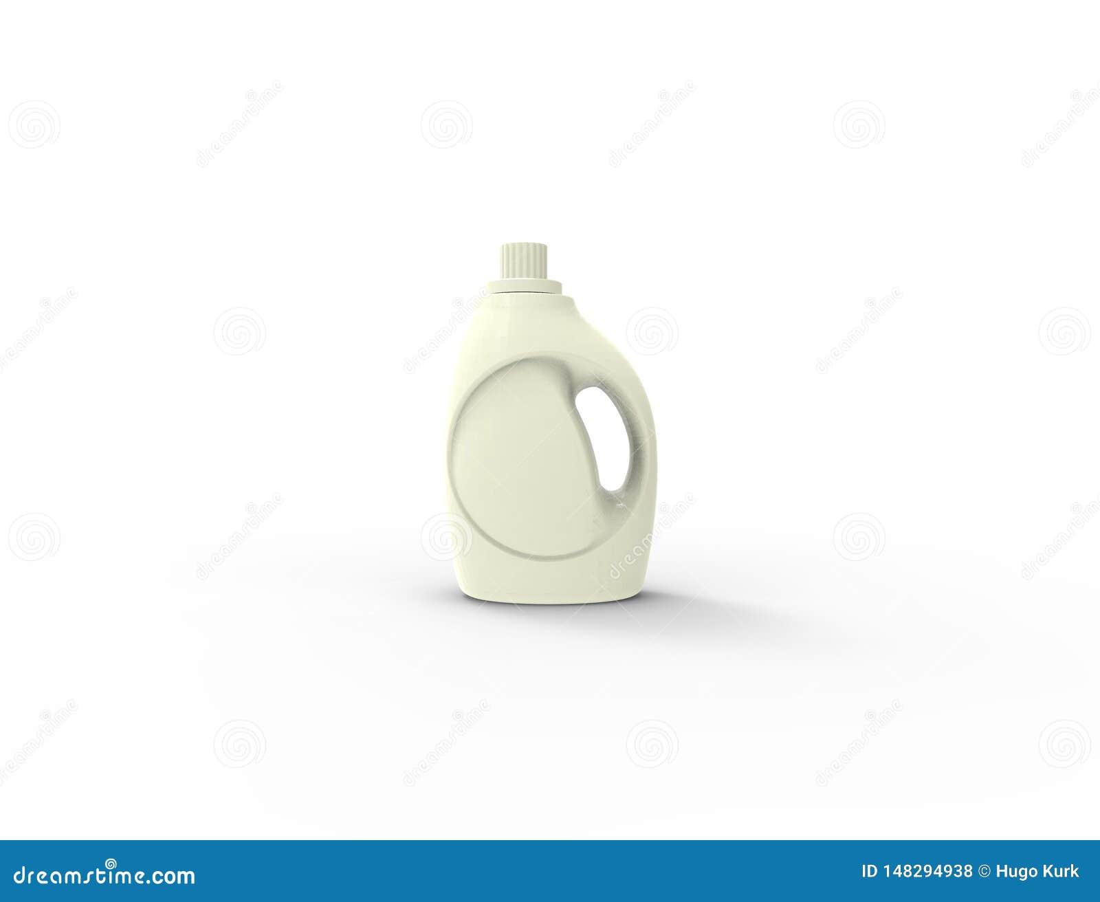 Wiedergabe 3D einer wei?en Waschpulverplastikflasche im wei?en Hintergrund