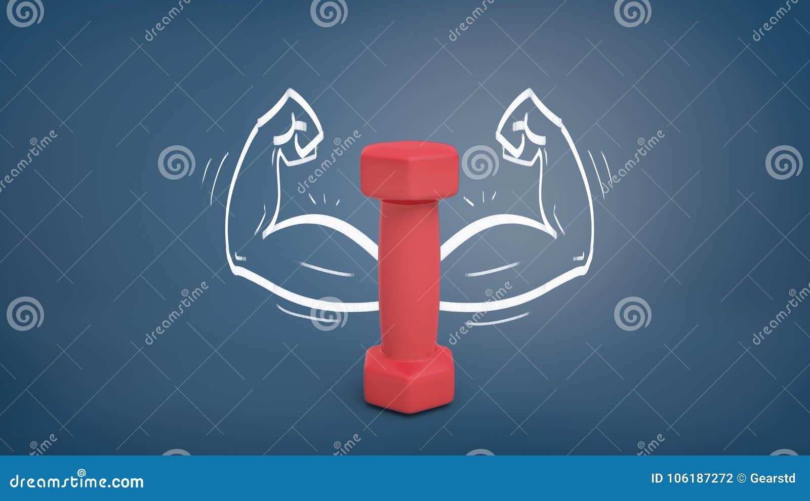 Wiedergabe 3d eines kleinen roten Dummkopfs steht vertikal auf einem Tafelhintergrund mit den gezogenen starken Armen um sie