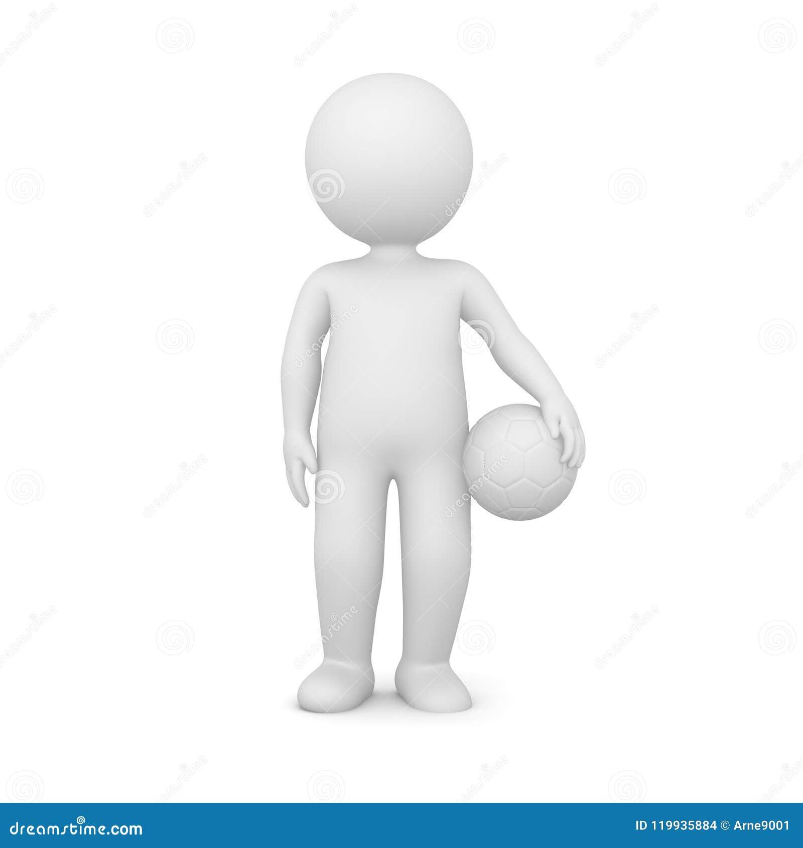 Wiedergabe 3D eines Mannes, der einen Fußball hält