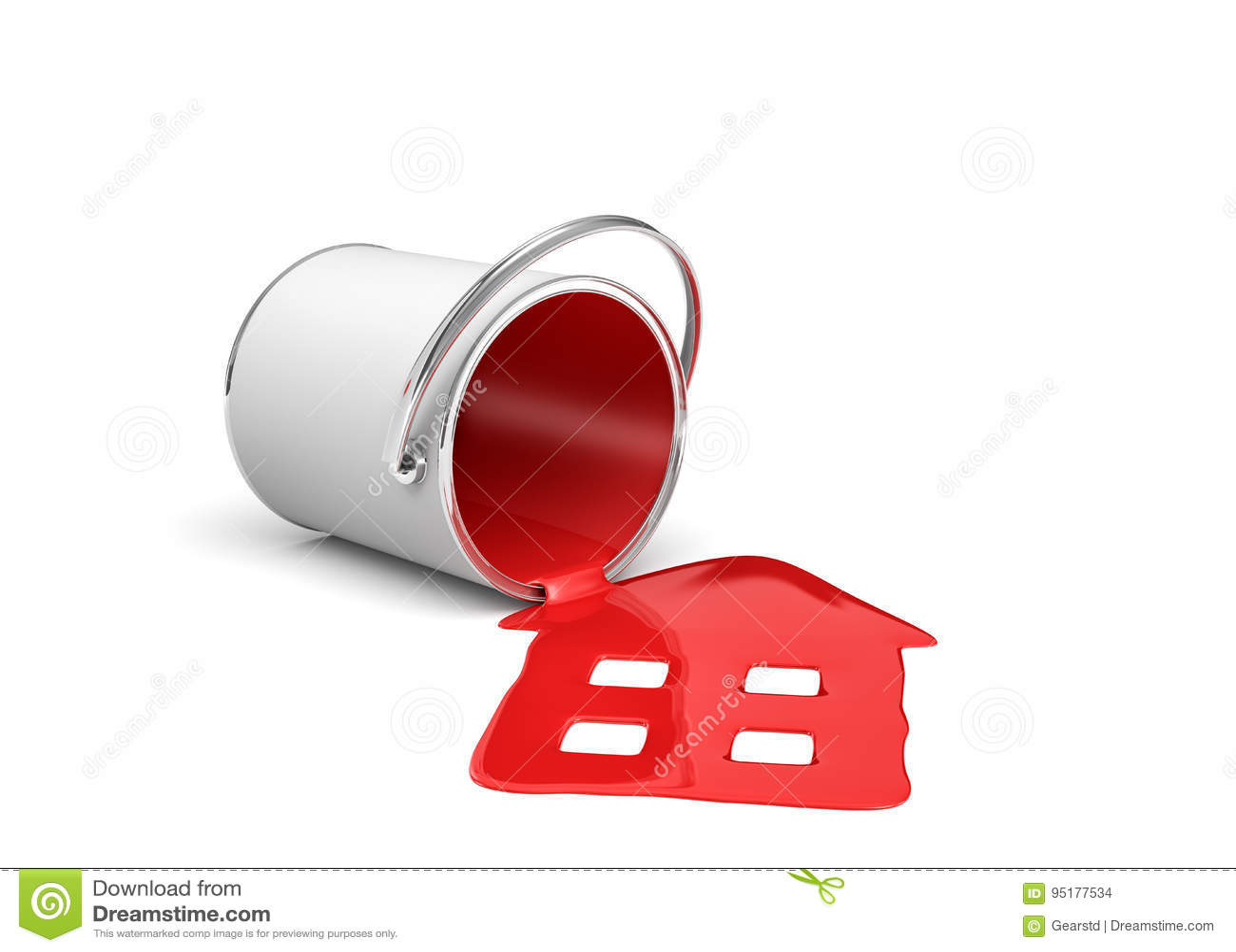 Wiedergabe 3d eines roten Farbeimers, der auf seiner Seite mit der Farbe heraus lecken und gemachter Hausform liegt