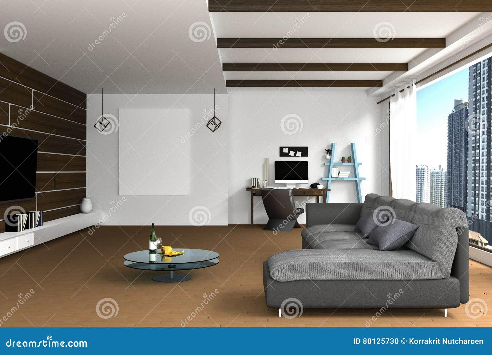 Wiedergabe 3D: Illustration Der Innenarchitektur Des Wohnzimmers Mit ...
