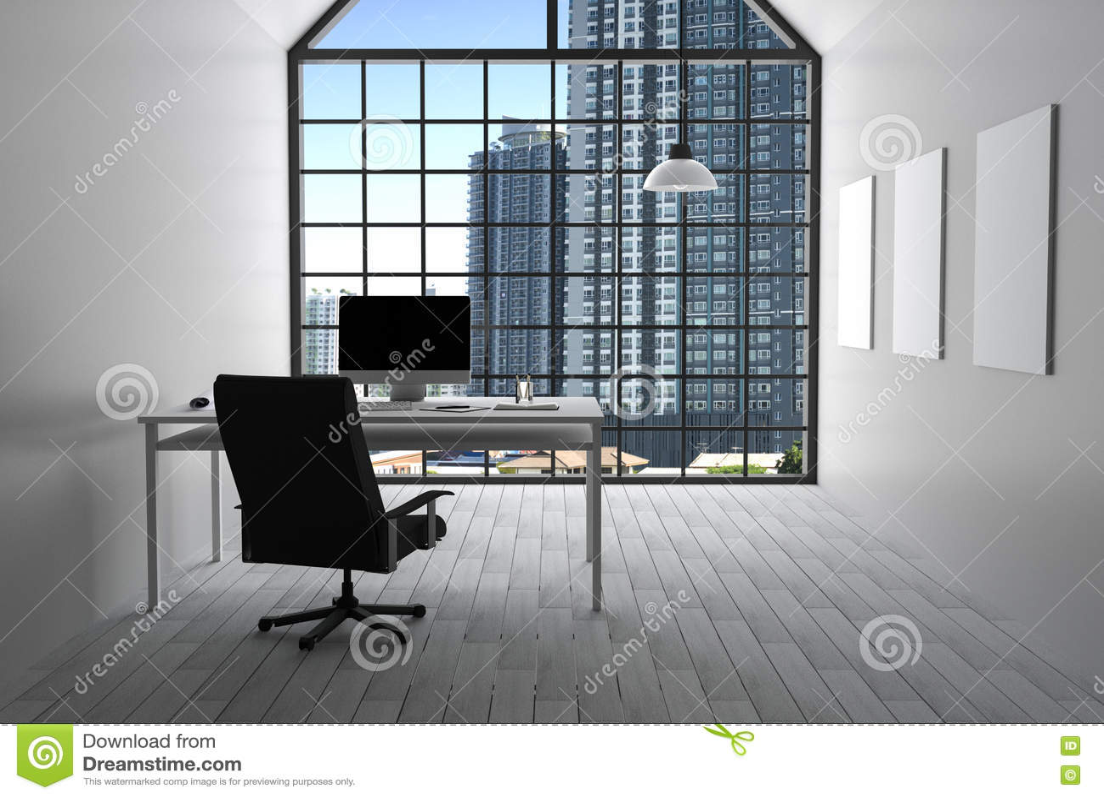 Moderne Lampen 82 : Wiedergabe 3d: illustration des modernen weißen innenbüros des