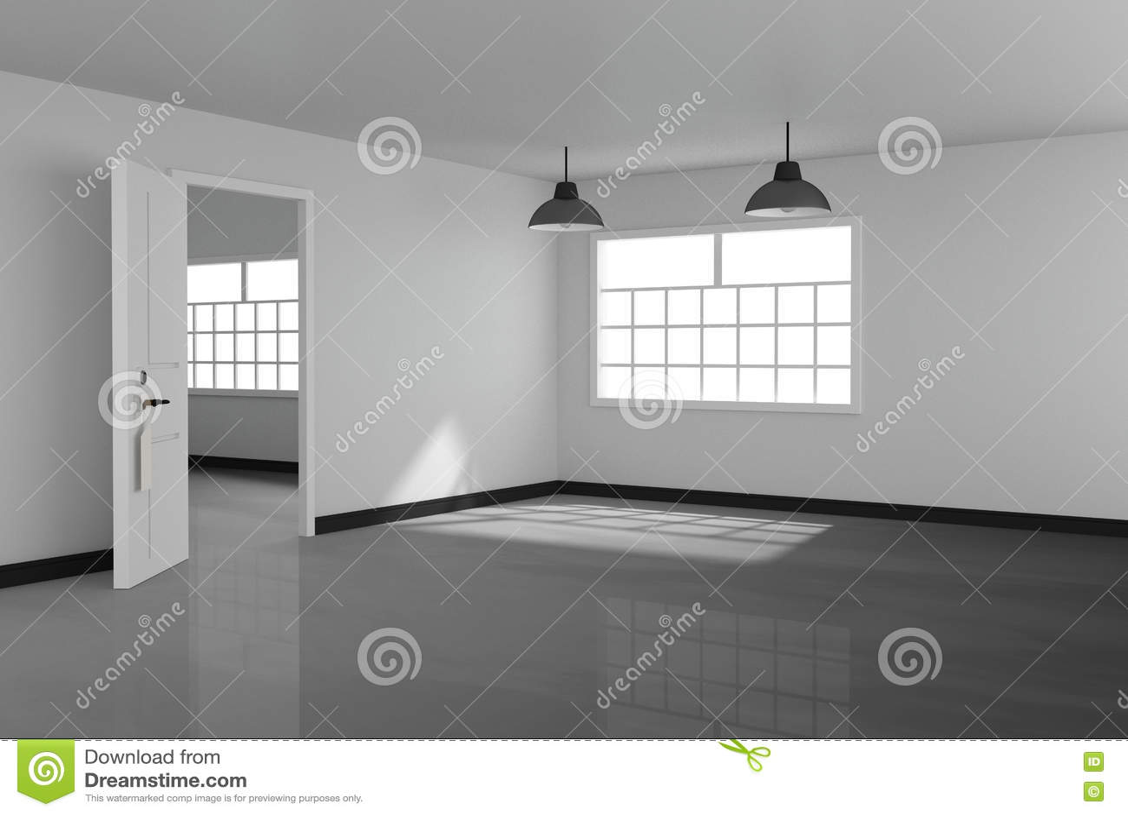 Wiedergabe 3D: Illustration Des Weißen Leeren Wohnzimmerinnendesigns ...