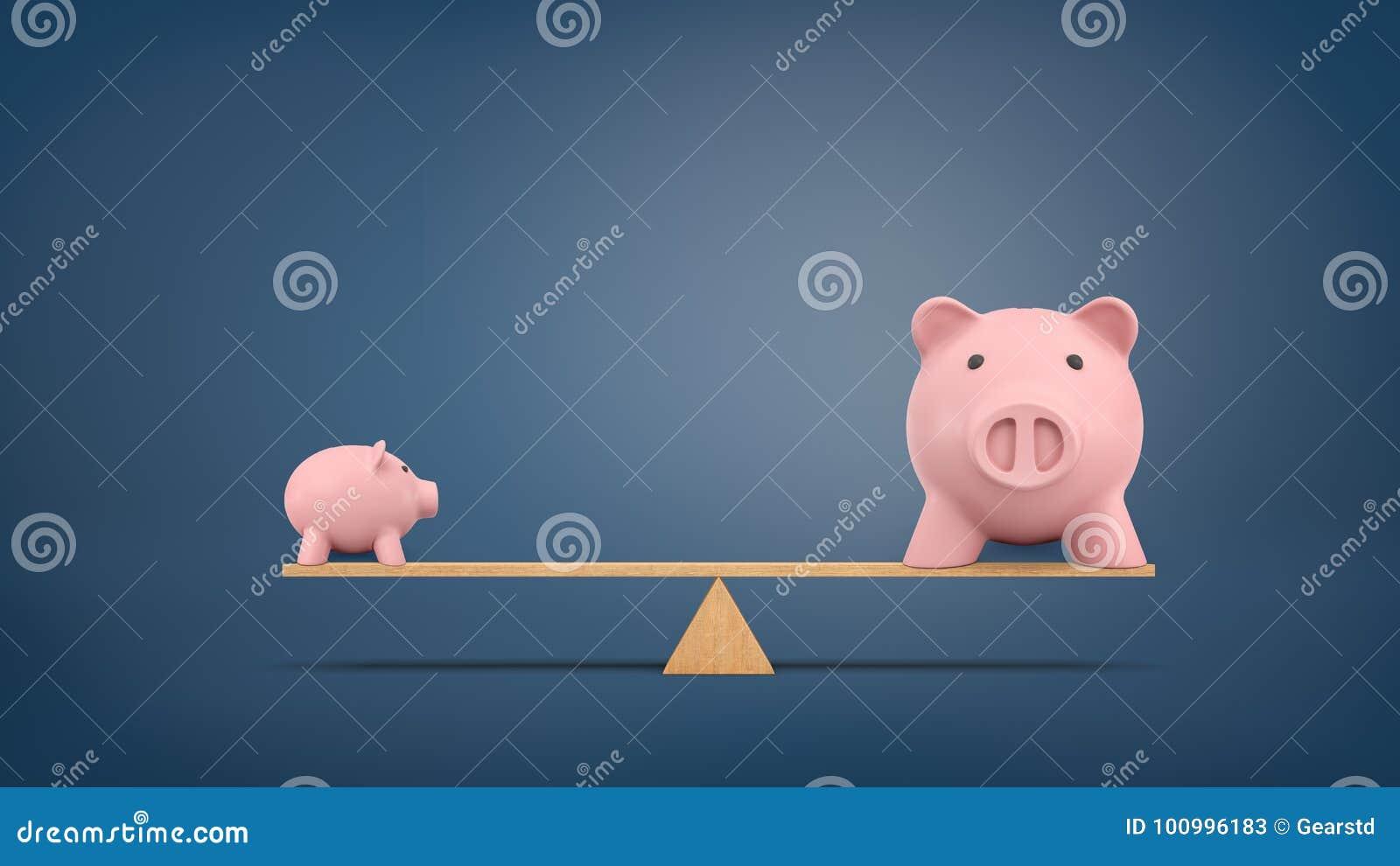 Wiedergabe 3d von einem kleinen Sparschwein in der Seitenansicht steht auf einem hölzernen ständigen Schwanken, das mit einem gro