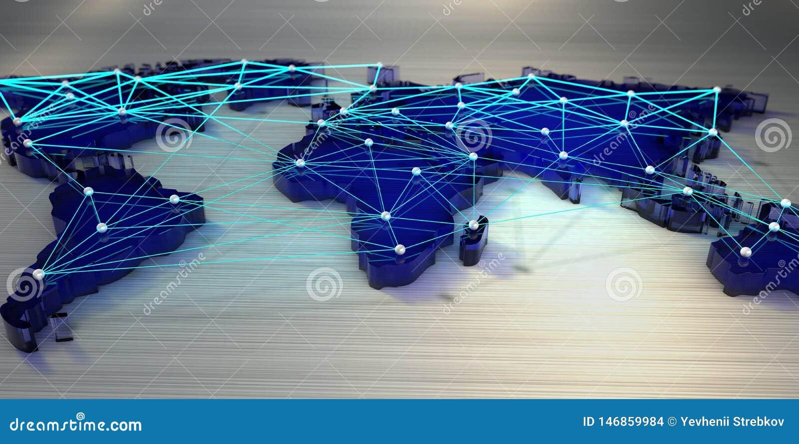 Wiedergabe 3d Weltkarte angeschlossen durch ein Netz von Strahlen