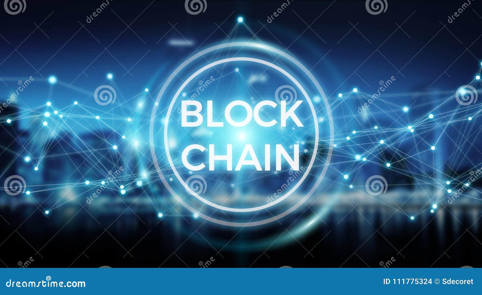 Wiedergabe des Blockchain-Verbindungshintergrundes 3D