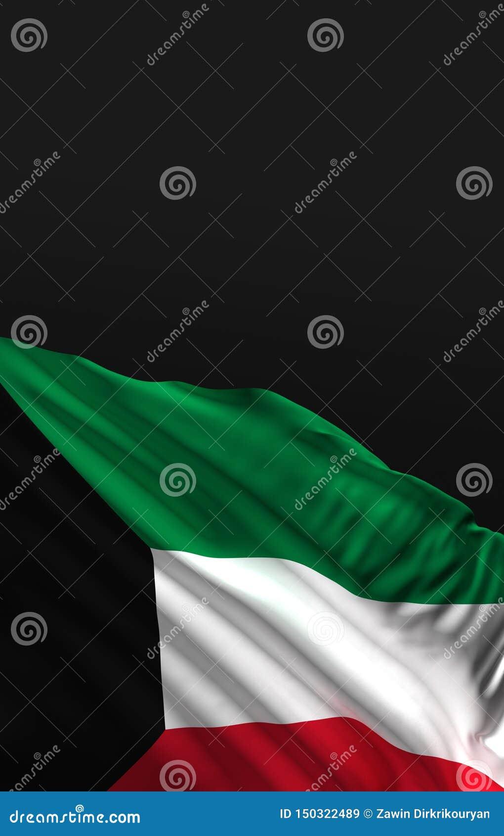 Wiedergabe Flagge 3D Kuwaits 3D