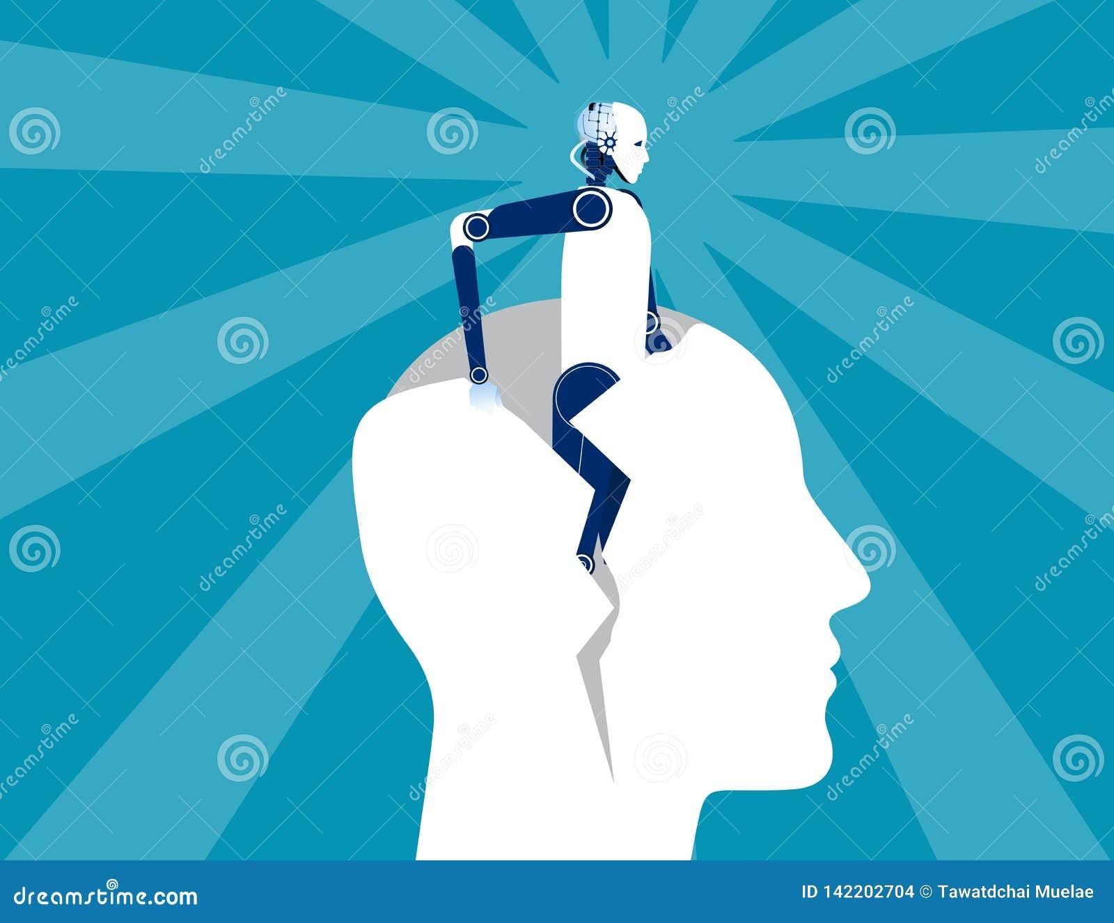 Wiedergeburt Des Roboters menschlicher Kopf der Form heraus Konzeptgeschäfts-Vektorillustration