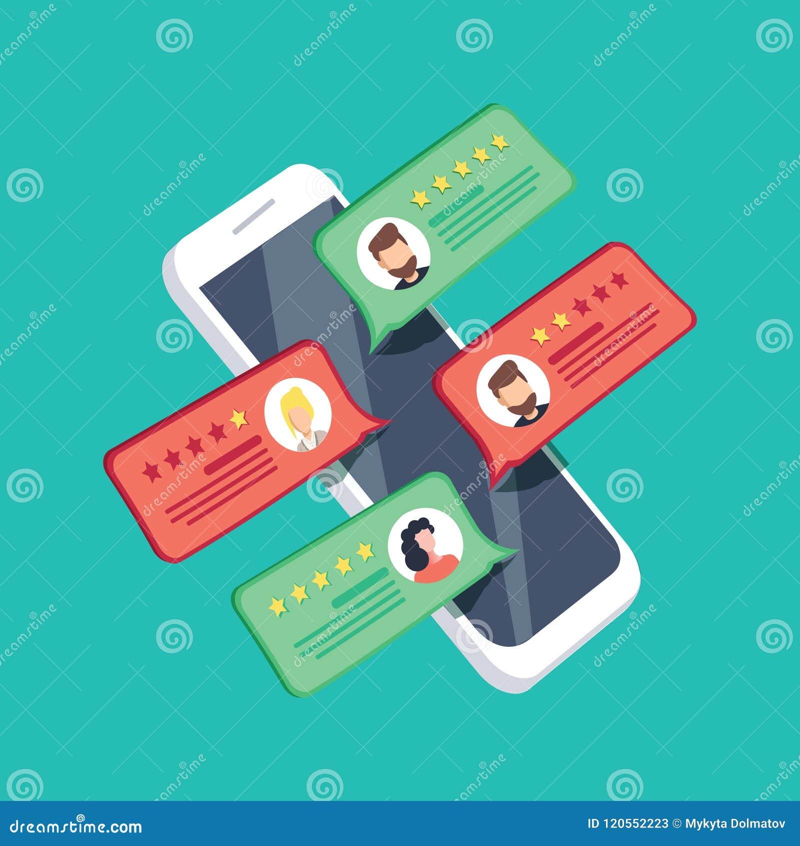 Wiederholen Sie Bewertung auf Handyvektorillustration, Karikatur isometrischer Smartphone, den on-line-Berichte Sterne veranschla